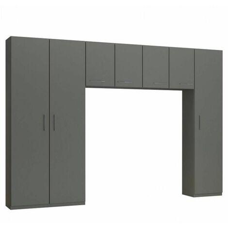 Ensemble de rangement pont 4 portes gris graphite mat largeur 320 cm - gris
