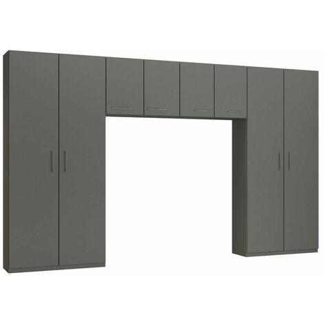 Ensemble de rangement pont 4 portes gris graphite mat largeur 370 cm - gris