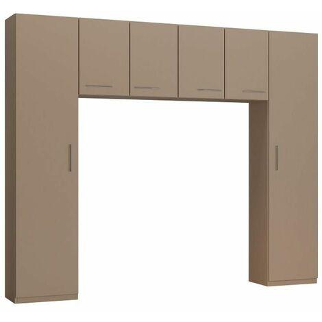 Ensemble de rangement pont 4 portes taupe mat largeur 270 cm - taupe