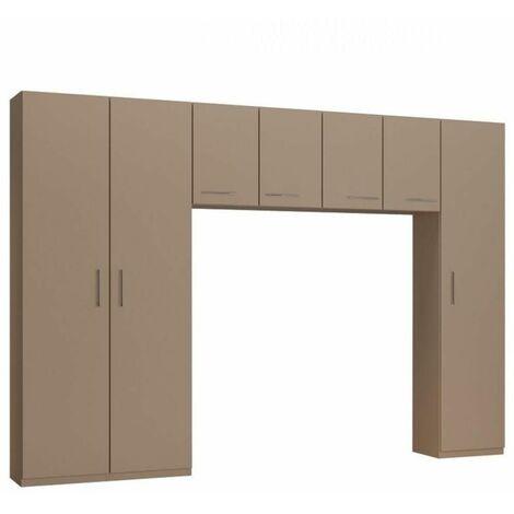 Ensemble de rangement pont 4 portes taupe mat largeur 320 cm - taupe
