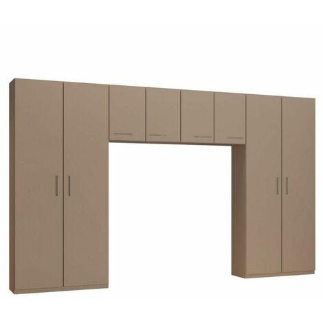 Ensemble de rangement pont 4 portes taupe mat largeur 370 cm - taupe