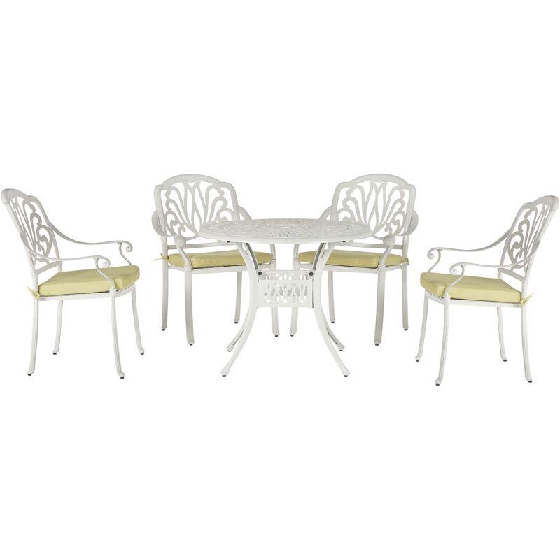 Ensemble de repas de jardin blanc 4 places avec coussins jaunes ANCONA