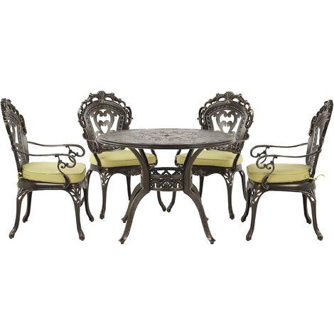 Ensemble de repas de jardin marron 4 places avec coussins verts SAPRI