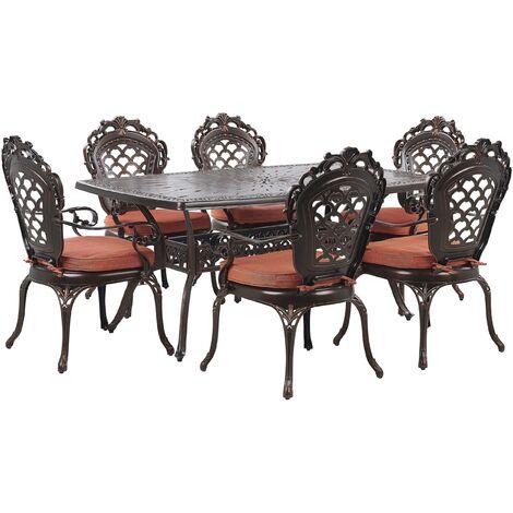 Ensemble de repas de jardin marron 6 places avec coussins oranges LIZZANO