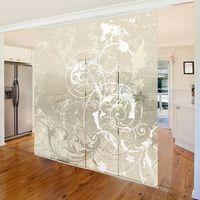 Ensemble de rideaux coulissants - Nacre Ornament Design - 4 Rideaux à panneaux Dimension: 250 x 240cm (4 rideaux á 250 x 60cm); Système de montage: montage mural