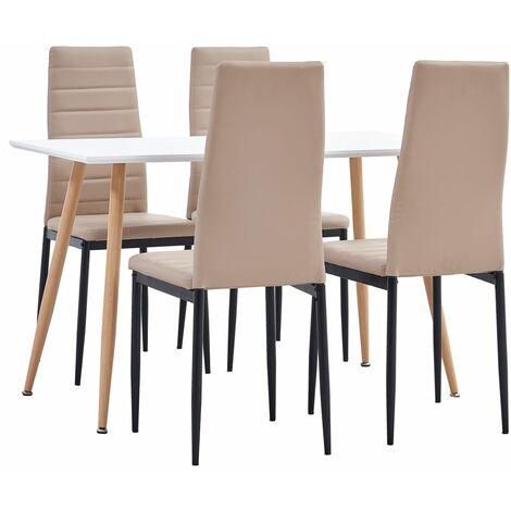 Ensemble de salle à manger 5 pcs Similicuir Cappuccino