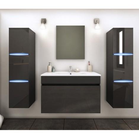 Etonnant Meuble De Salle De Bain Simple Vasque 80 Cm + 2 Colonnes Avec LED Gris  LAZIA   L 80 X L 46 X H 50