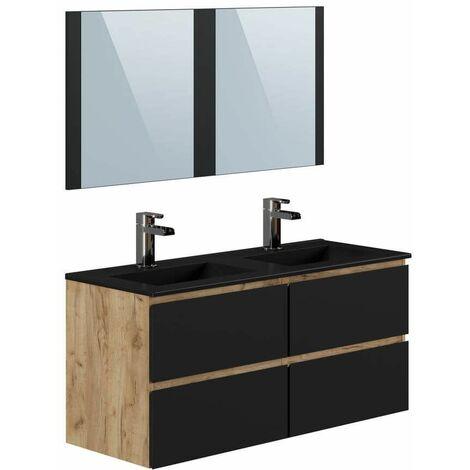 Ensemble de salle de bain AKELA 120 cm couleur chêne et noir - Marron