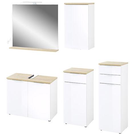 Ensemble de salle de bain avec 5 pièces coloris imitation blanc /chêne de Navarre -PEGANE-