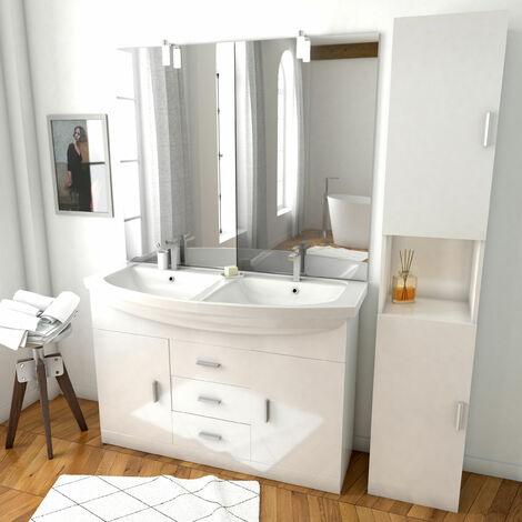 Ensemble de salle de bain blanc 120cm - Double vasque céramique + miroir LED + colonne 2 portes