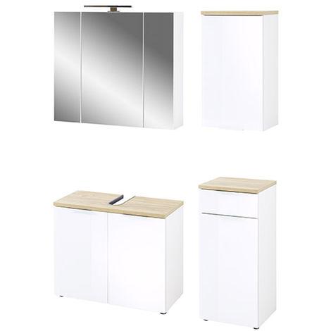 Ensemble de salle de bain coloris imitation blanc /chene de Navarre -PEGANE-