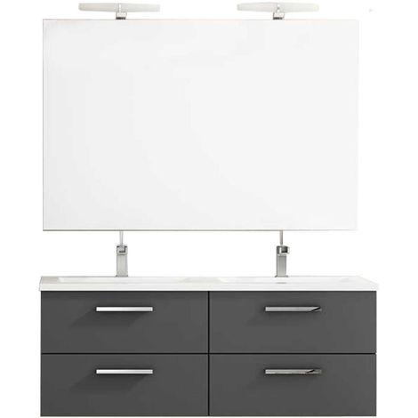 Ensemble de salle de bain CORDOBA meuble suspendu 120 cm Anthracite Mat