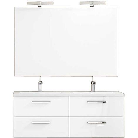 Ensemble de salle de bain CORDOBA meuble suspendu 120 cm Blanc Brillant