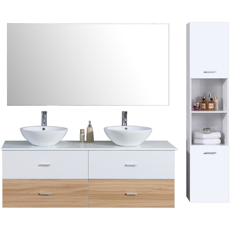 vasque avec colonne Ensemble de salle de bain double vasque 150cm colonne de rangement bicolore  u2013 Blanc et Bois - MSD02JQ06-D1500BCB