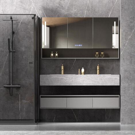 Ensemble de salle de bain double vasque avec miroir Beige & Gris - 150 cm