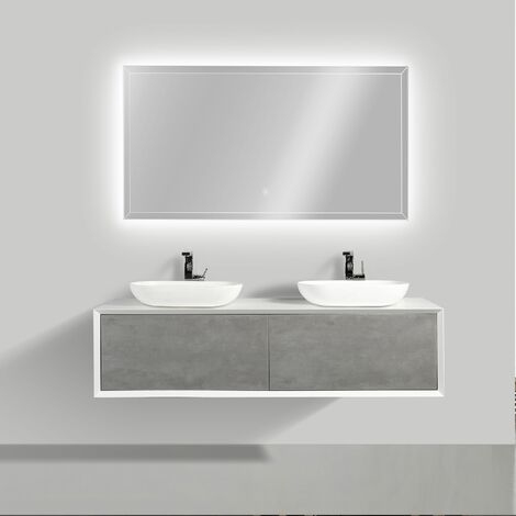 Ensemble de salle de bain en bois mdf fiona 1600 blanc mat fa ade aspect b ton miroir et - Ensemble salle de bain bois ...