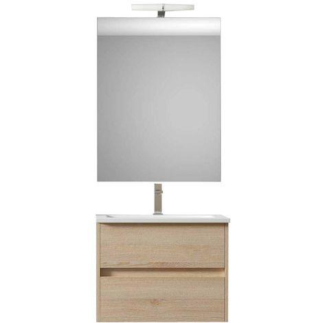 Ensemble de salle de bain LERMA meuble suspendu Bois clair 60 cm