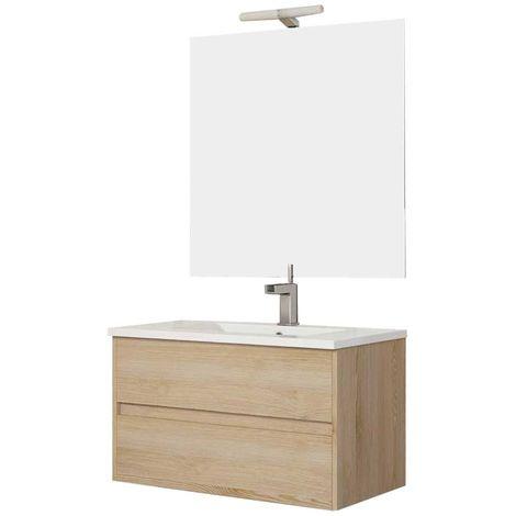 Ensemble de salle de bain LERMA meuble suspendu Bois clair 80 cm