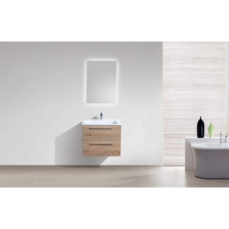 Ensemble de salle de bain M600 décor chêne clair - vasque en verre - miroir  en option
