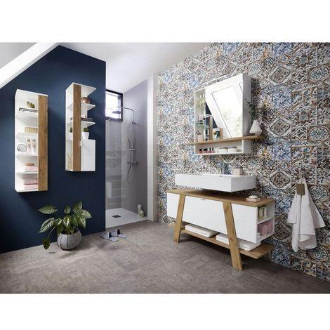 Ensemble de salle de bain scandinave chêne/blanc Geralda