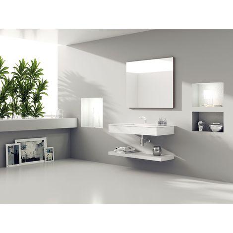 Ensemble de salle de bain suspendu FUTURE 03 100cm Ciment blanc