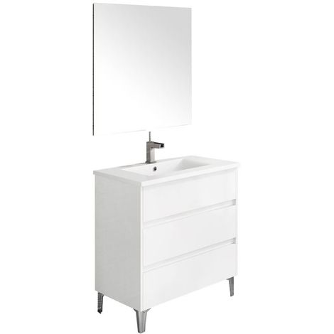 Ensemble de salle de bain TENERIFE 80cm blanc brillant