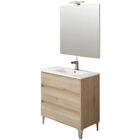 Ensemble de salle de bain TENERIFE 80cm bois clair