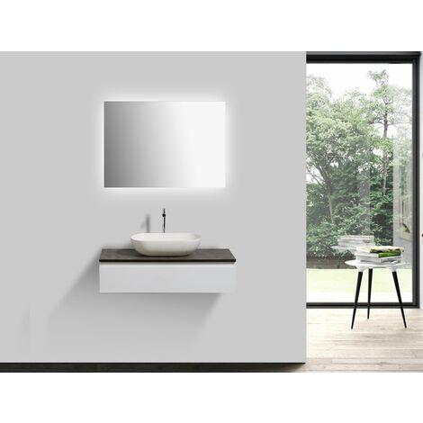 miroir en option Bonde Pop-Up:Avec bonde Pop Up Miroir:Sans miroir Meubles de salle de bains LENA 1000 blanc mat