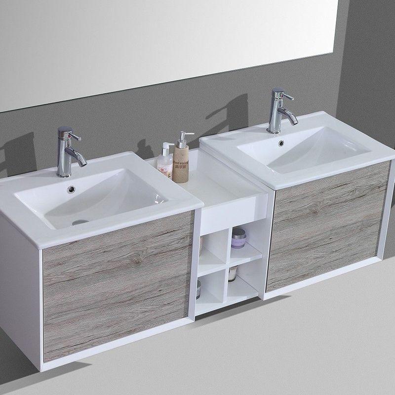 vasque avec colonne Ensemble de salle de salle double vasque 150cm colonne de rangement et  miroir u2013 Gris - MSD02JQ04-D1500G