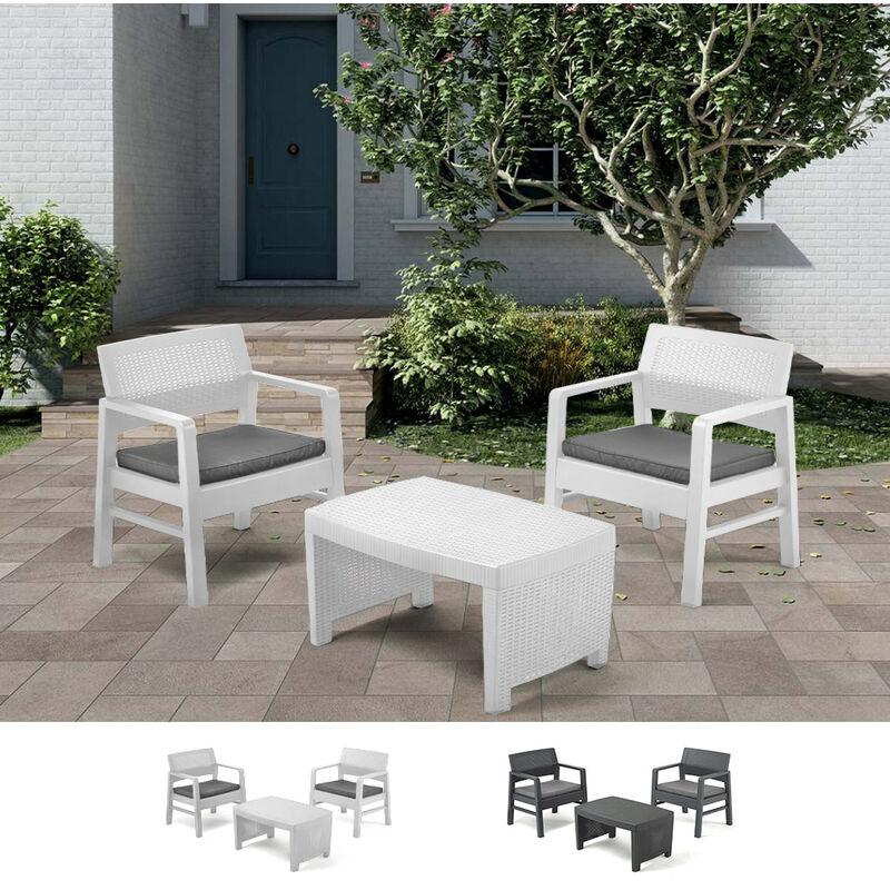 Salon de jardin en polyrotin table 2 fauteuils coussins Tambo | Blanc - Progarden