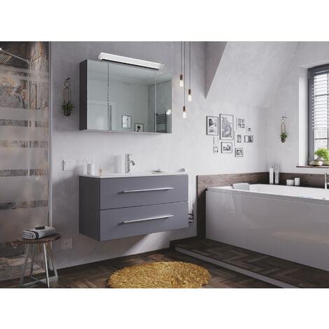 Ensemble de SDB Firenze 90 2 Pièces en anthracite avec armoire de toilette