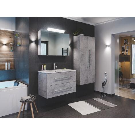 Ensemble de SDB Firenze 90 (4 Pièces/C) en aspect béton avec armoire de toilette