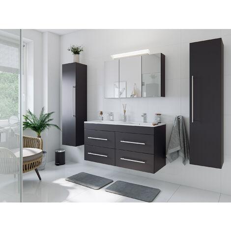 Ensemble de SDB Helios 4 pcs inkl. armoire toilette de miroirs en anthracite