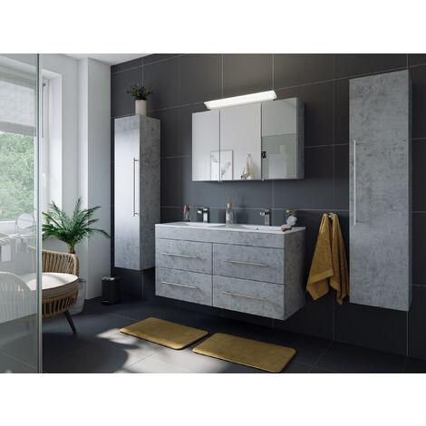 Ensemble de SDB Helios 4 pcs inkl. armoire toilette de miroirs en Aspect Béton