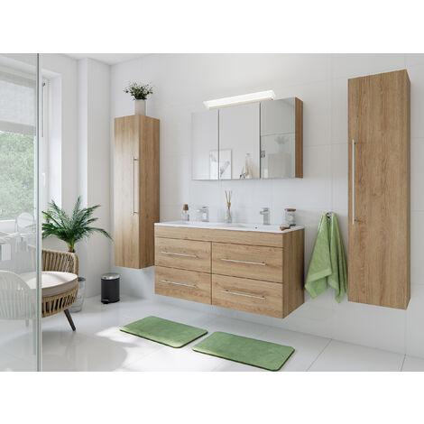 Ensemble de SDB Helios 4 pcs inkl. armoire toilette de miroirs en décor chêne