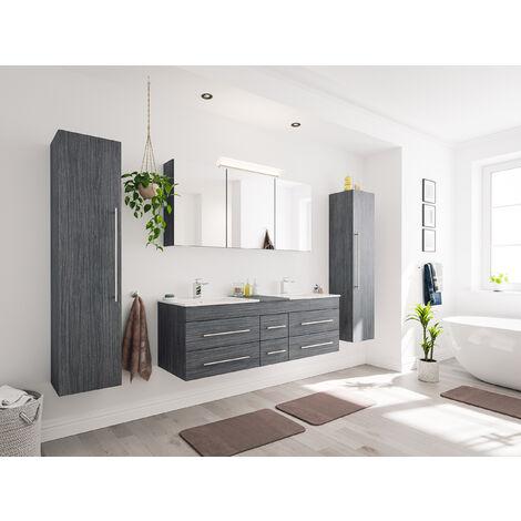 Ensemble de SDB Roma XL 4 pcs inkl. Armoire toilette de miroirs Charbon antique