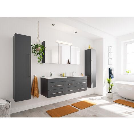Ensemble de SDB Roma XL 4 pcs inkl. Armoire toilette de miroirs en anthracite