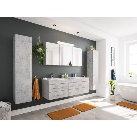 Ensemble de SDB Roma XL 4 pcs inkl. Armoire toilette de miroirs en Aspect Béton