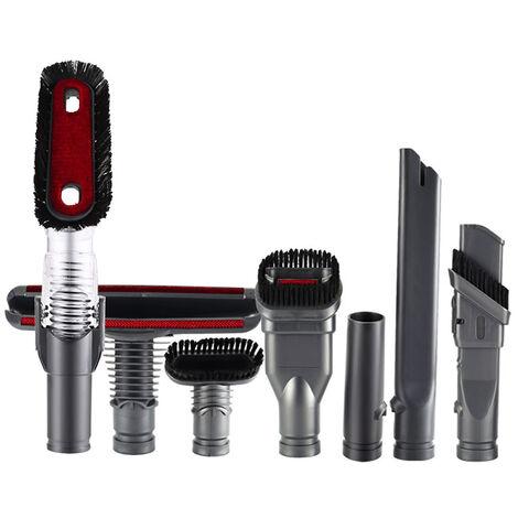 Ensemble de sept accessoires pour aspirateur Dyson (brosse ronde + brosse dure (large) + tete de brosse pour matelas + tete d'aspiration + brosse dure (etroite) + aspiration plate + tete d'aspiration antistatique) Convient pour le modele V6 portable
