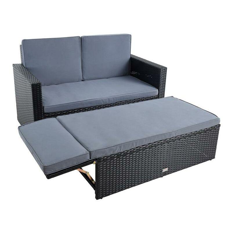 Ensemble de sièges en polyrotin Canapé de salon Canapé de jardin en noir