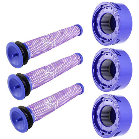 Ensemble de six accessoires pour aspirateur Dyson (3 * filtre avant + 3 * filtre arriere) adapte aux modeles V7 / V8 portables