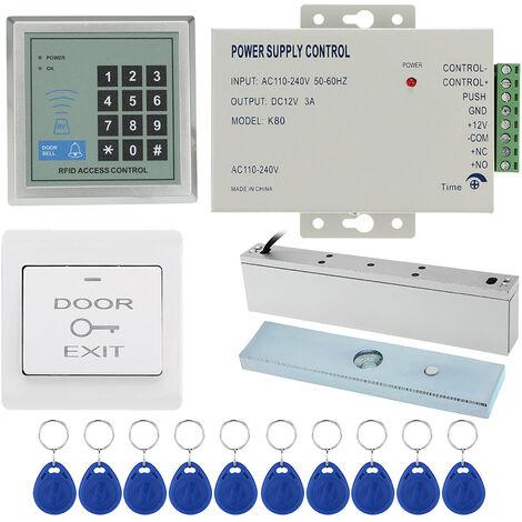 Ensemble de systeme de controle d'acces (hote de controle d'acces, serrure magnetique 180KG, alimentation de controle d'acces, bouton de sortie, porte-cles ID 10PCS) chacun 1 ensemble