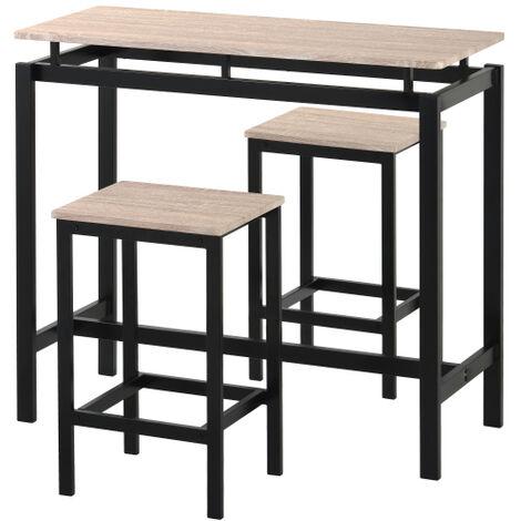 Ensemble de table de bar, table et chaises de bar en bois de fer, table et chaises de cuisine, table haute et tabouret de bar, restaurant, table haute en bois fonce, chene