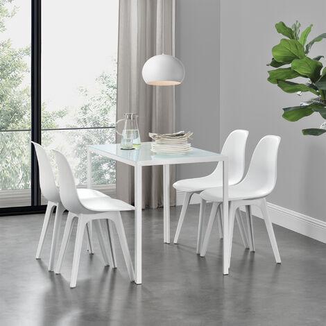 Ensemble de Table et 4 Chaises Table de Salle à Manger avec 4 Chaises Métal Bois Plastique Verre Blanc 105cm x 60cm x 75cm