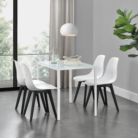 Ensemble de Table et 4 Chaises Table de Salle à Manger avec 4 Chaises Métal Bois Plastique Verre Blanc et Noir 105cm x 60cm x 75cm