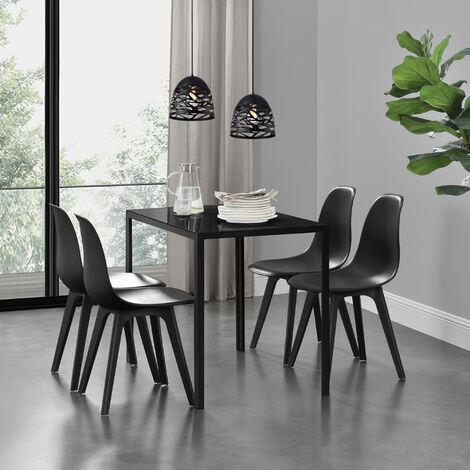 Ensemble de Table et 4 Chaises Table de Salle à Manger avec 4 Chaises Métal Bois Plastique Verre Noir 105cm x 60cm x 75cm