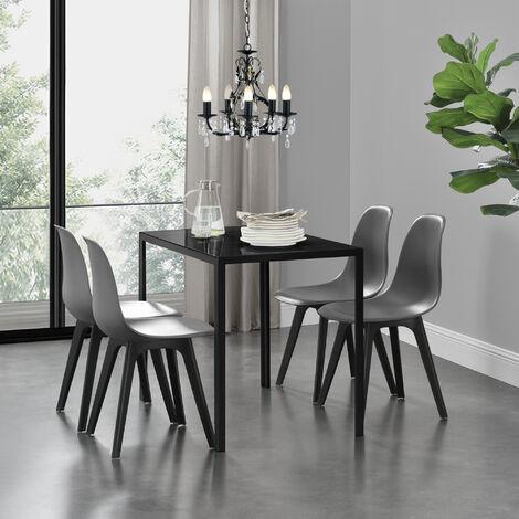 Ensemble de Table et 4 Chaises Table de Salle à Manger avec 4 Chaises Métal Bois Plastique Verre Noir et Gris 105cm x 60cm x 75cm