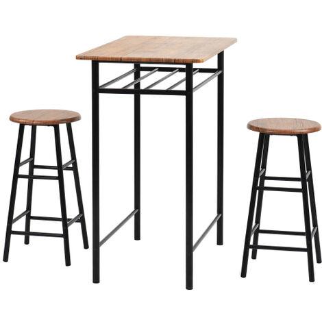 Ensemble de table haute 3 pieces, table de pub moderne et ensemble chaise-salle a manger, ensemble de table a manger avec hauteur de comptoir de cuisine et 2 tabourets de bar