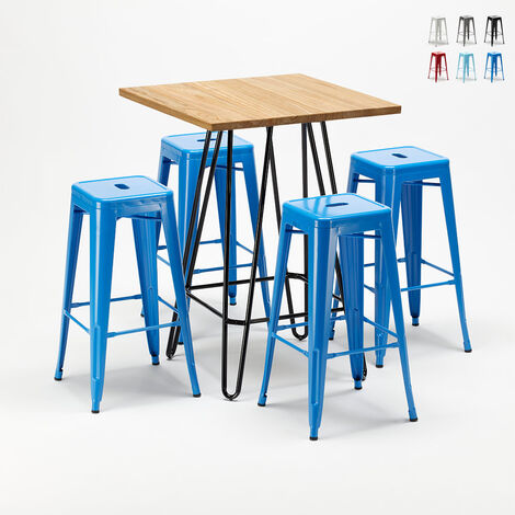Ensemble de table haute et 4 tabourets en métal style Tolix BROOKLYN pour Bars et Pubs