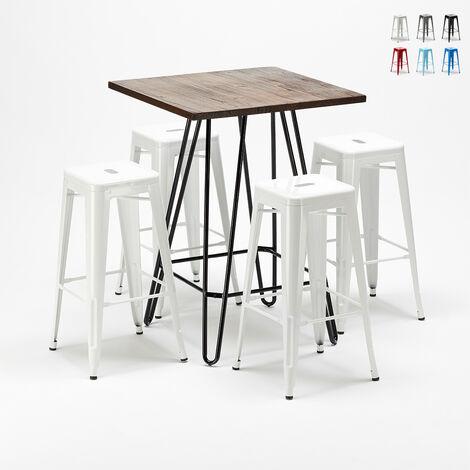 Ensemble de table haute et 4 tabourets métalliques Tolix style industriel KIPS BAY pour pubs
